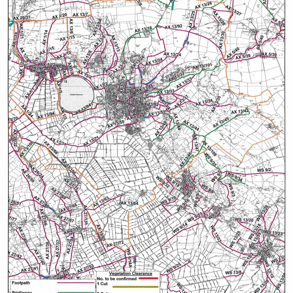 Cheddar footpaths map